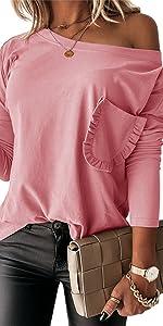 Off Shoulder Long Sleeve T-Shirt