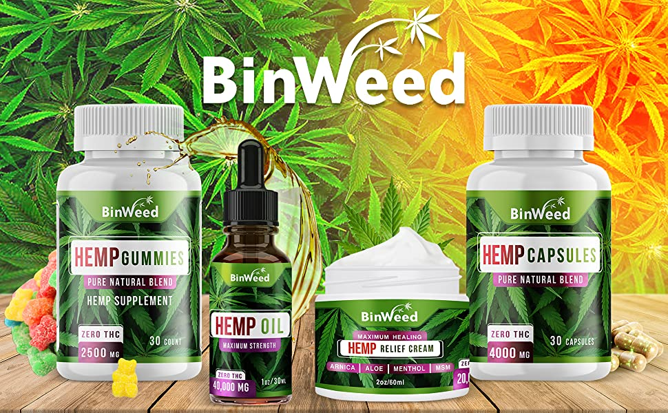 binweed gummies capsules oil hemp relief cream pain inflammation