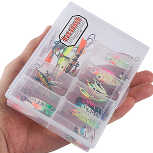 Bassdash Ice Fishing Lure Kit Glowing Paint Jigs for Winter Ice Jigging Crappie Sunfish Perch Walleye Pike with Tackle Box