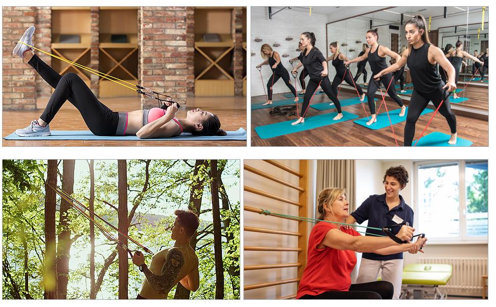IZSUZEE Bandas Elasticas Musculacion, Juego de 12 Piezas, Bandas de Resistencia,Gomas Elasticas Fitness. Interior y Exterior, Cintas Elasticas ...