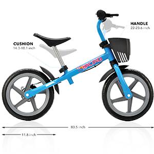 size of balance bike