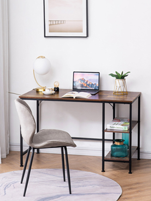 home office writing desk with shelves