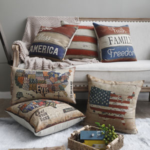 Linkwell Retro USA Map Cushion Cover