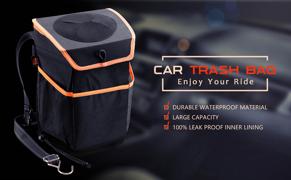 ELV Car Trash Can Trash Bag for Car Auto Leakproof Garbage Bin Container with Storage Pockets and Lid for Door Headrest Back Truck SUV Console Outdoor Picnic