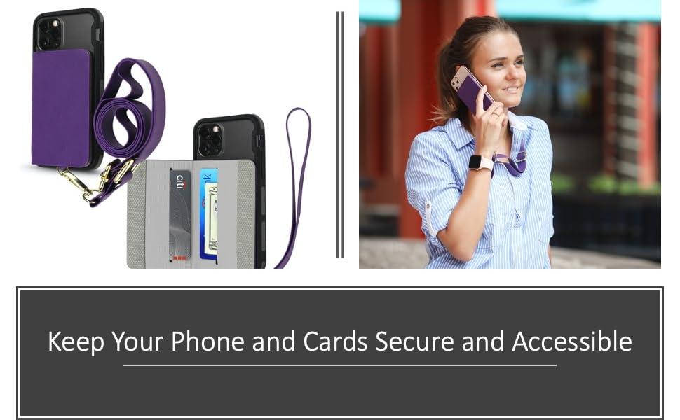 stick on wallet for back of phone lanyard wrist strap id holder card holder folio case