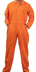 Orange jumpsuit unisex flightsuit suit men women prisoner costume