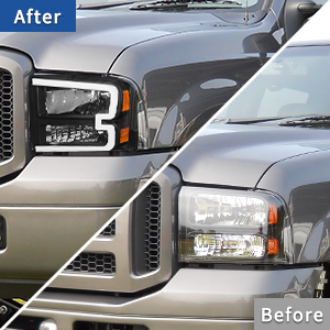 led drl tube projector headlights for ford F250 F350 F450 F550 super Duty 2005 2006 2007