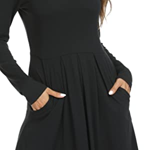 DouBCQ Women's Casual Long Sleeve Flowy Pleated Knee Length Dresses with Pockets