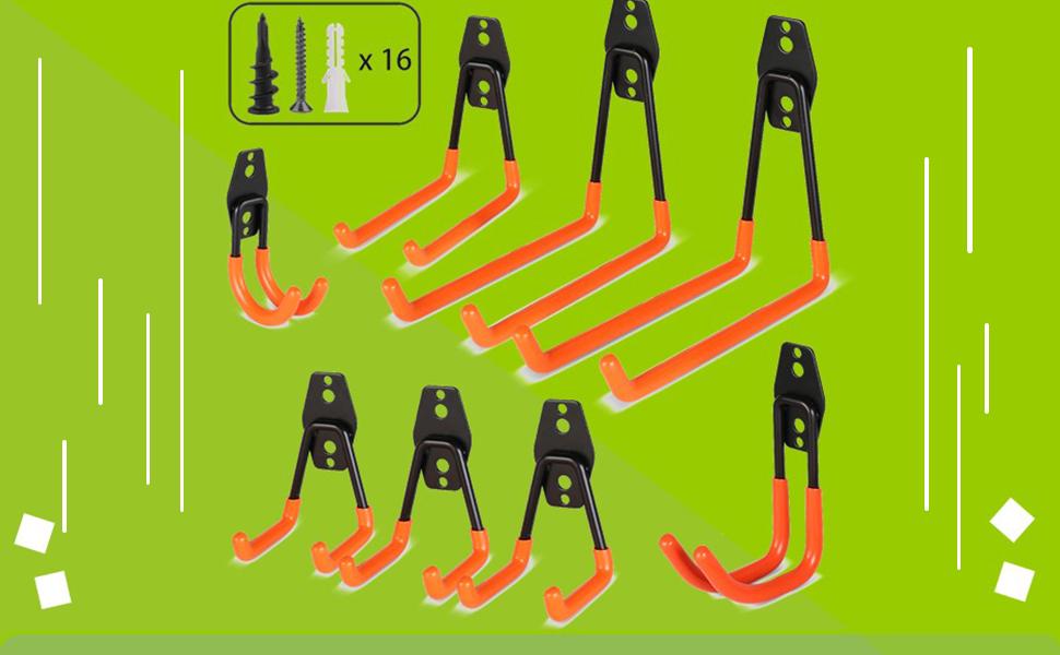 Gancho Bicicleta Pared de 8 Piezas Ganchos para Bicicletas Ganchos para sistemas de almacenaje