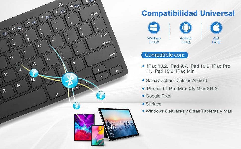 ProCase Teclado Americano Inalámbrico Universal para iOS/Android/Windows, Teclado Inglés Ultra Delgado Ligero para Tableta, Teléfono Móvil, ...