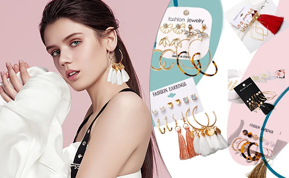 many earrings of different styles