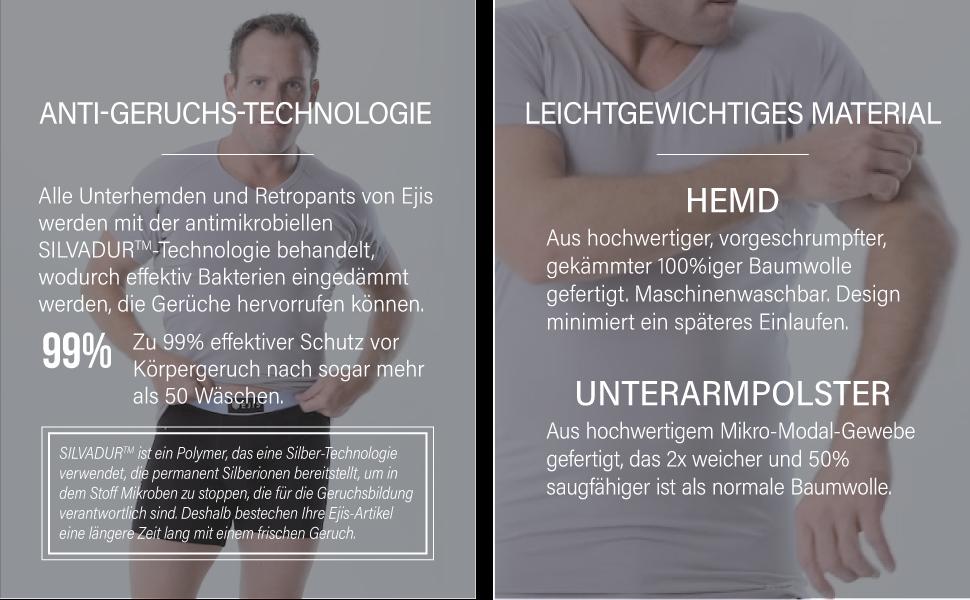 Achselschwei/ßsichere Mikro-Modalfaser Ejis Schwei/ßabwehr-Unterhemd Tiefer V-Ausschnit
