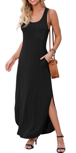 Women's Casual Fit Long Dress Sleeveless Racerback Split Fashion Summer Maxi Dresses with Pocket