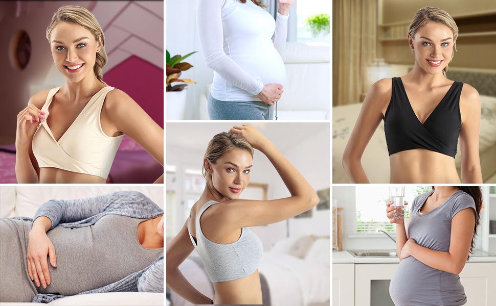 Foraco Nursing Bra Breastfeeding and Sleeping Women Seamless Maternity Cotton Bralette Wirefree for Pregnancy