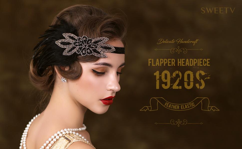 SWEETV Feather Elastic 1920s Flapper Headband