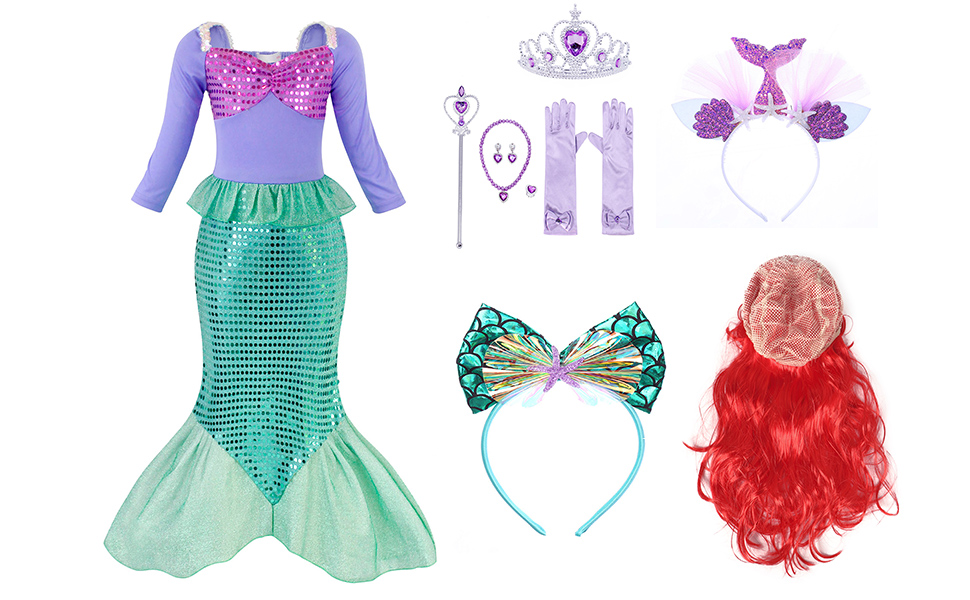 Little Girls Dress Mermaid Outfits Costume Princess Birthday Party Cosplay Clothes Sequins HG023-12