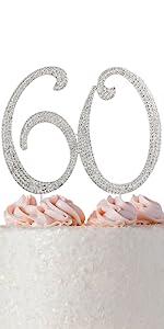 60 cake topper birthday silver rhinestones