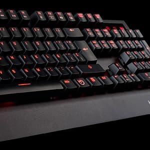 Hiditec | Teclado Gamming GK500 Mecánico Retroiluminado LED Rojo | Keyboard para PC Garmer Switch Cherry Blue | Estructura de Aluminio | N-Key ...