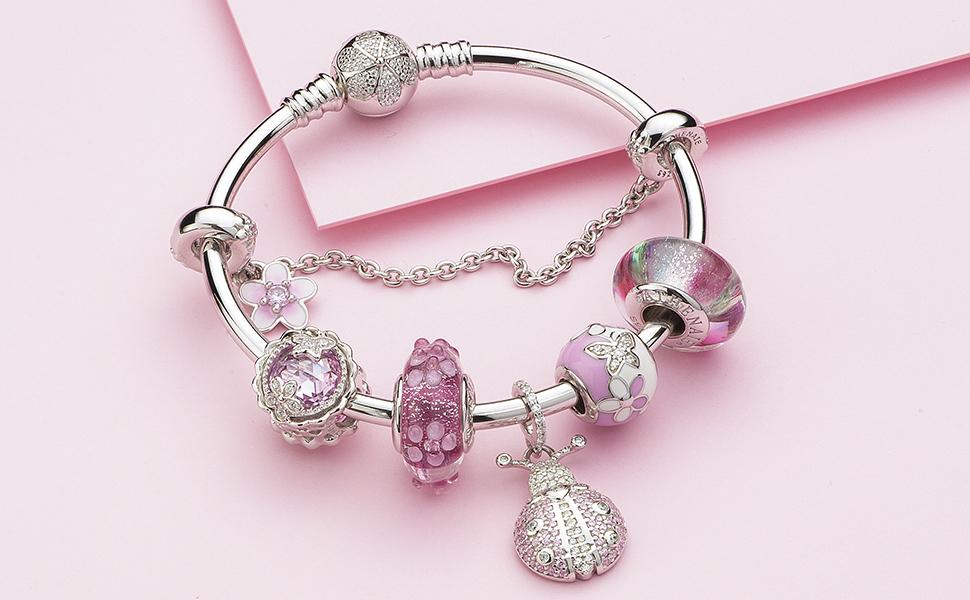 Flower garden ladybug murano glass beads charms bracelet