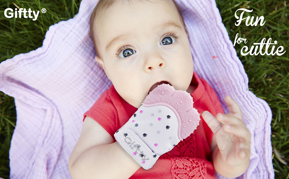 Baby Adjustable Washable Teething Mitten Glove Babies Self-Soothing Toy