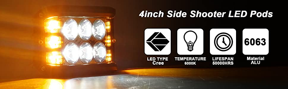 Amazon Com  Side Shooter  Led Pods Light 4 Inch Off Road