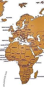 Flamingueo Mapa Mundi Rascar - Poster Mapa Mundi para Rascar, Mapamundi con Púa para Marcar Viajes, Mapa del Mundo para Rascar Países, Decoracion Habitacion, 65 x 45 cm (Mapa Mundi Rascar): Amazon.es: