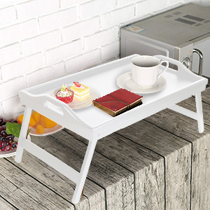 Bed Tray Table with Folding Legs,Serving Breakfast in Bed