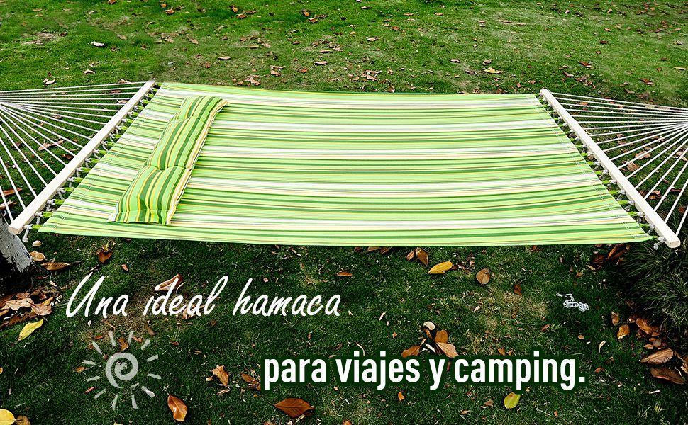Outsunny Hamaca Colgante de Algodón para Jardín Camping Playa Picnic con Almohadilla 188x140cm con Carga de 210kg: Amazon.es: Jardín