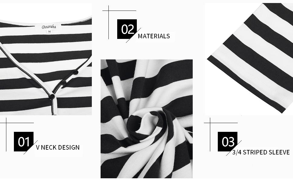Women's Nightshirt 100% Cotton Striped 3/4 Sleeve Soft Loungewear