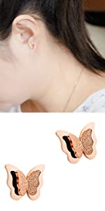 Girl Small Butterfly Stud Earrings Necklace Gift for Her