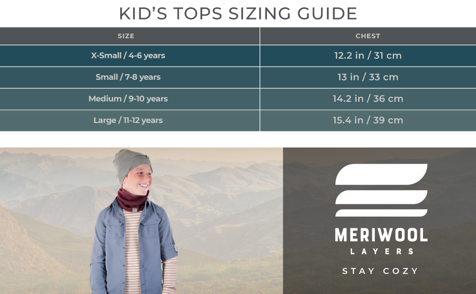 merino kids shirts come in extra small, small, medium and large, they're ideal for any child