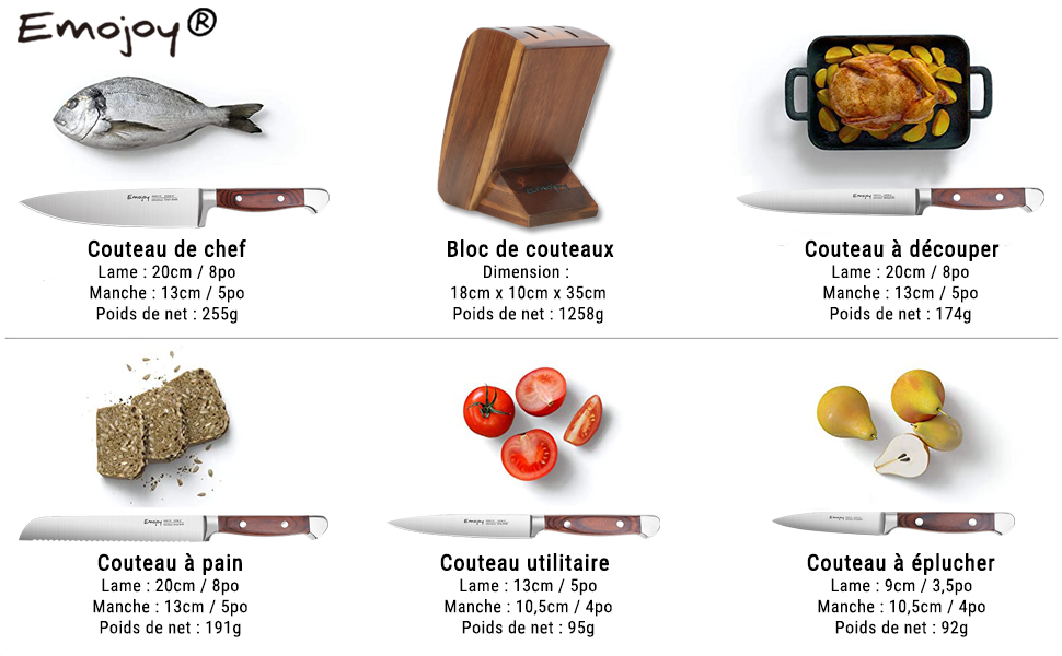 set couteau cuisine professionnel