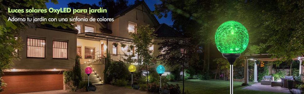 Luz Solar Exterior Jardin,Luces LED solares OxyLED de jardín, que cambian de color. Iluminación decorativa del paisaje, Encendido/apagado automático durante el anochecer y amanecer: Amazon.es: Iluminación