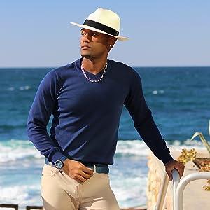 ocean beach sun style fashion sunny warm weather summer vacation straw panama hat