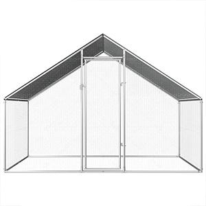 Gansos con Techo Impermeable Gallinas Festnight Gallinero Gallinero Exterior de Acero Galvanizado Plateado 3x1x1,5 m para Pollos Patos