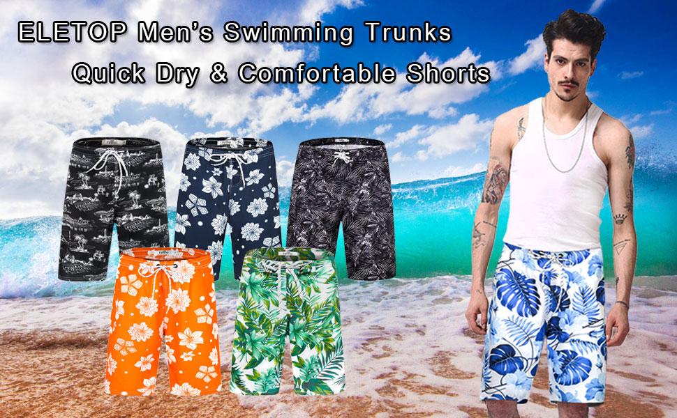 Mens Swim Trunks Sunset Coconut Palm Tree Silhouette Adjustable Quick Dry Beach Short.