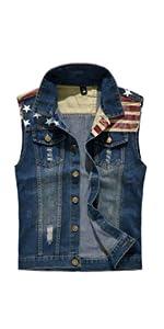 Men's Sleeveless Jacket Button Down Casual Lapel Denim Vest Ripped Hole Plus Size
