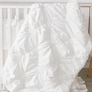 baby quilt  white cotton crib comforter girl