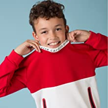 Pierre Cardin Kids Red and White pullover sweater with pockets