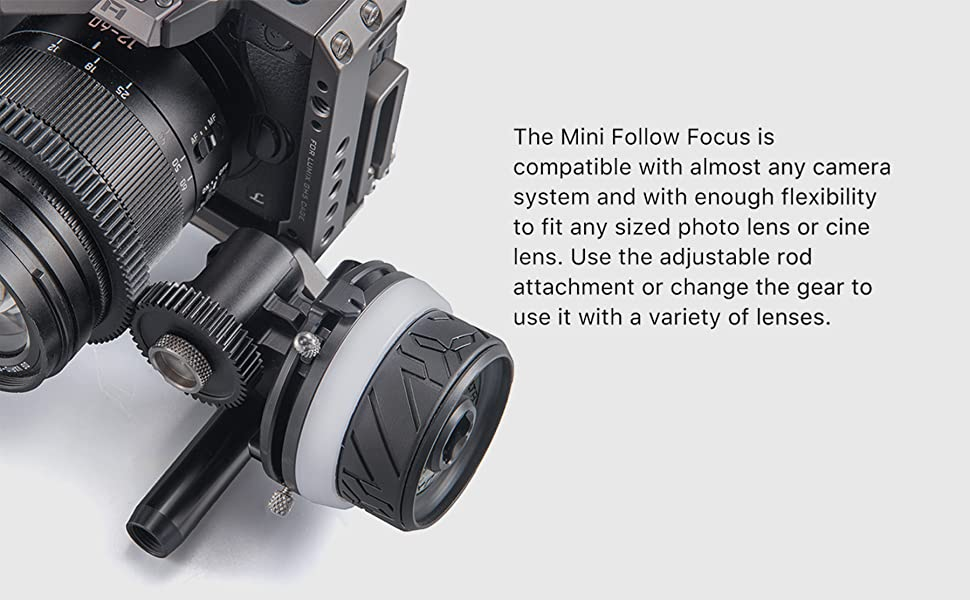 compatible with most cameras, fits photo or cine lenses. use rod attachment or change the gear