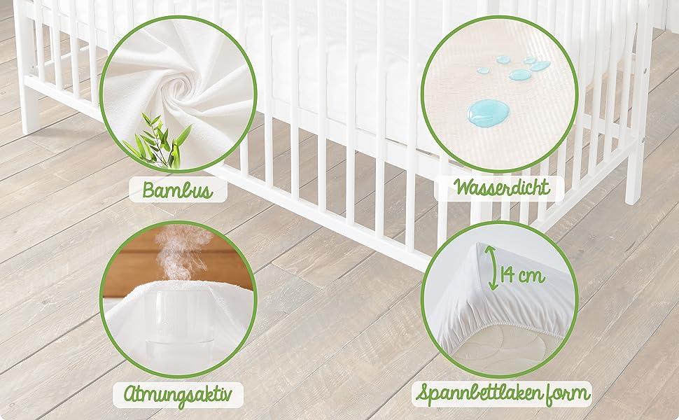 Bambus Wasserdicht Kinder Matratzenauflage Sanft und atmungsaktiv Babysom Baby Matratzenschoner Naturfaser 60x120 cm