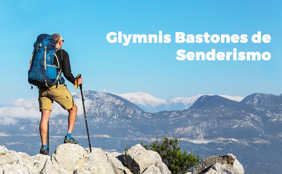 Glymnis Bastones de Senderismo Bastones Trekking Plegables 2pcs 36cm~130cm de Aleación de Aluminio 7075 y EVA para Senderismo Alpinismo Trail Viaje