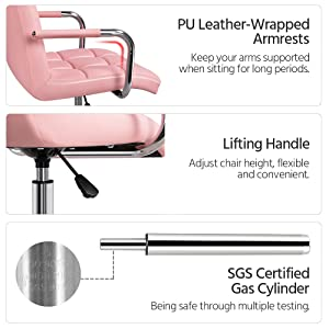 xijietu - YAHEETECH Desk Chairs With Wheels/Armrests Modern PU Leather Office Chair Height Adjustable Home Computer Executive Chair On Wheels 360° Swivel - Pink