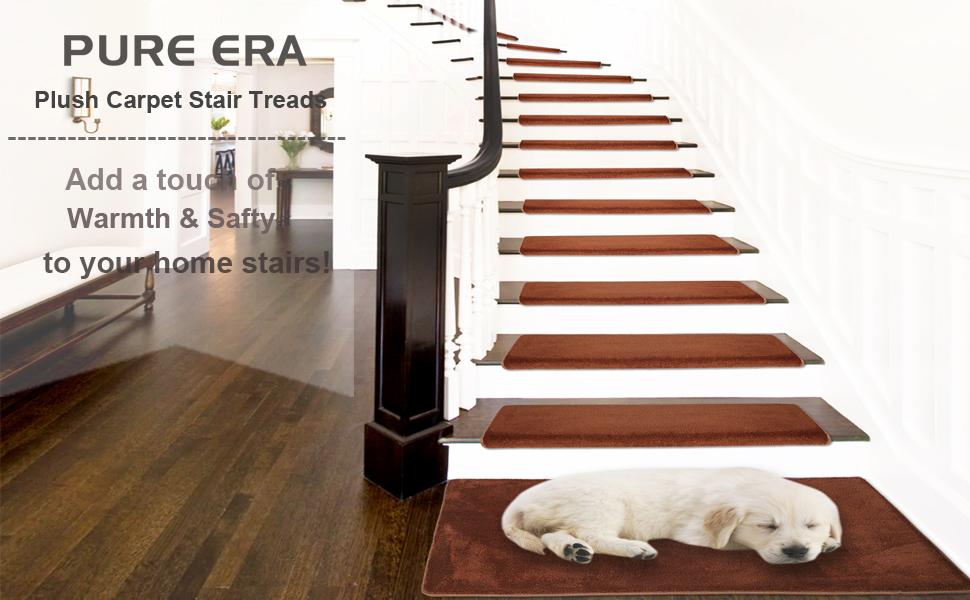 PURE ERA Ultra Plush Soft Bullnose Carpet Stair Treads