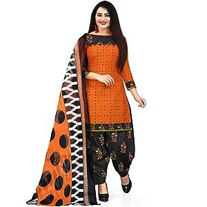 Rajnandini Women's Orange Cotton Floral Printed Unstitched Salwar Suit Material