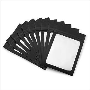 Black Mylar Bags with Ziplock 4 x 6 100 Bags Sealable Heat Seal