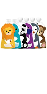 Squooshi Reusable Squeeze Food Pouch Assorted