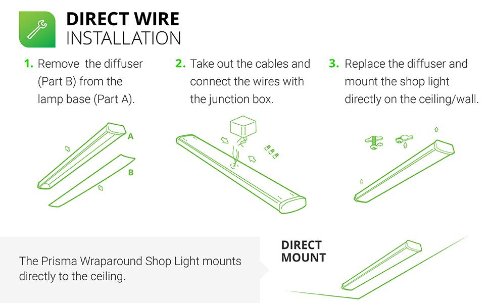 Amazon Com Sunco Lighting 10 Pack Wraparound Led Shop Light 4 Ft Linkable 40w 300w 3500 Lm 5000k Daylight Integrated Led Direct Wire Flush Mount Fixture Utility Light Garage Etl Energy Star Home Improvement