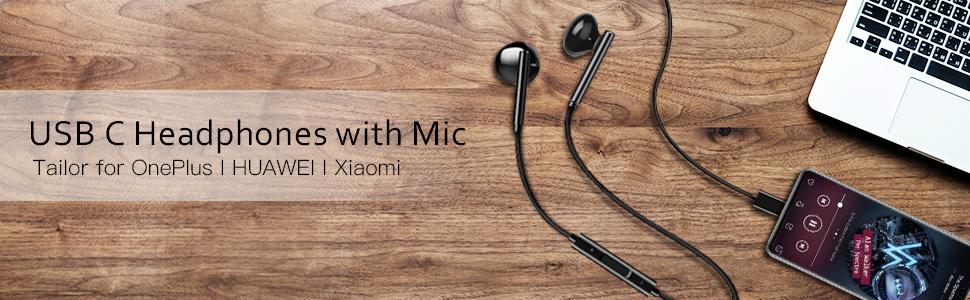 USB C Headphones with Mic