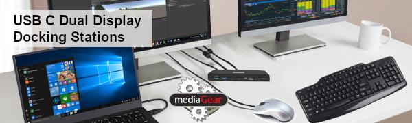 Dual Display Displays Dock Docking Station USB C Two Monitors 3.0 HDMI DisplayPort Ethernet speaker
